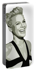 Pink Cutout Art Portable Battery Charger