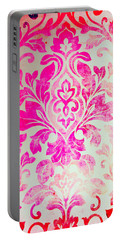 Pink Damask Pattern Portable Battery Charger