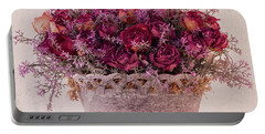 Pink Dried Roses Floral Arrangement Portable Battery Charger