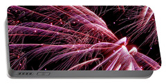 Portable Battery Charger featuring the photograph Pink Flamingo Fireworks #0710 by Barbara Tristan