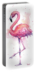Pink Flamingo Watercolor Tropical Bird Portable Battery Charger
