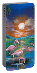 Pink Flamingos Portable Battery Charger by Patrice Torrillo