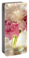 Pink Floal Portable Battery Charger by George Robinson