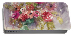 Pink Floral Impressions Portable Battery Charger by Judith Levins