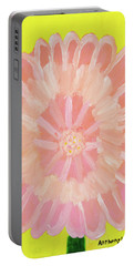 Portable Battery Charger featuring the painting Pink Flower by Artists With Autism Inc