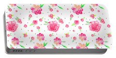 Pink Flower Pattern Portable Battery Charger