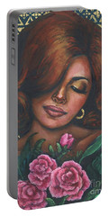Portable Battery Charger featuring the painting Pink Flowers by Alga Washington