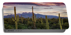 Portable Battery Charger featuring the photograph Pink Four Peaks Sunset  by Saija Lehtonen