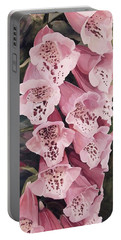 Pink Foxglove Portable Battery Charger by Laurie Rohner