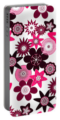 Pink Funky Flowers Portable Battery Charger by Methune Hively