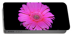 Pink Gerbera On Black Portable Battery Charger by Linda Bianic