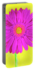 Pink Gerbera On Yellow, Watercolor Portable Battery Charger