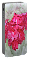 Portable Battery Charger featuring the painting Pink Gladiolus by Sandy McIntire