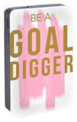 Pink Goal Digger Portable Battery Charger by Elizabeth Taylor