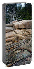 Pink Granite And Driftwood At Schoodic Peninsula In Maine  -4672 Portable Battery Charger
