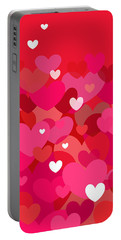 Pink Heart Abstract Portable Battery Charger by Val Arie
