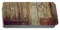 Portable Battery Charger featuring the photograph Pink Hearts On Antique Wood Door by Brooke T Ryan