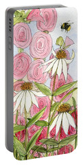 Pink Hollyhock And White Coneflowers Portable Battery Charger