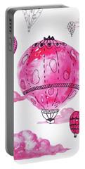 Pink Hot Air Baloons Portable Battery Charger