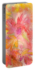 Pink Leaves Portable Battery Charger by Nancy Cupp