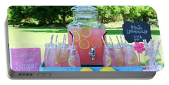 Pink Lemonade At Picnic In Park Portable Battery Charger