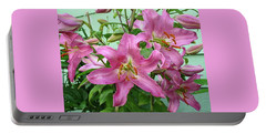Pink Lilies Portable Battery Charger by Jay Milo
