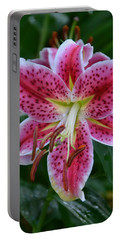 Pink Lily Portable Battery Charger by Bonnie Myszka