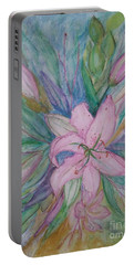 Pink Lily- Painting Portable Battery Charger by Veronica Rickard