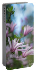 Pink Magnolia Blooms Peaceful Portable Battery Charger by Mike Reid