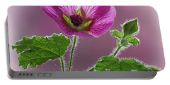 Pink Mallow Flower Portable Battery Charger