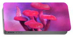 Pink Mushrooms Portable Battery Charger
