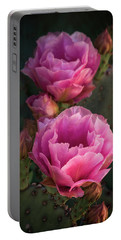 Portable Battery Charger featuring the photograph Pink Opuntia Blooms  by Saija Lehtonen