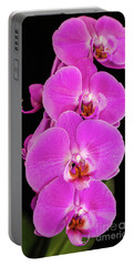 Pink Orchid Against A Black Background Portable Battery Charger