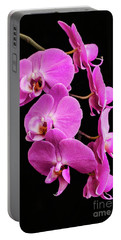 Pink Orchid With Black Background Portable Battery Charger