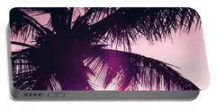 Portable Battery Charger featuring the photograph Pink Palm Tree Silhouettes Kihei Tropical Nights by Sharon Mau