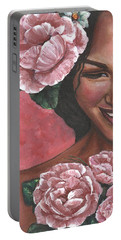Portable Battery Charger featuring the painting Pink Passion by Alga Washington