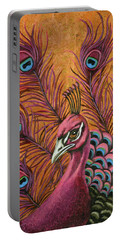 Pink Peacock Portable Battery Charger by Leah Saulnier The Painting Maniac