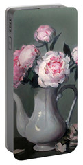 Pink Peonies In White Coffeepot Portable Battery Charger