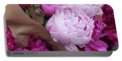 Pink Peonies Squared Portable Battery Charger