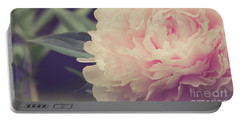 Portable Battery Charger featuring the photograph Pink Peony Vintage Style by Edward Fielding