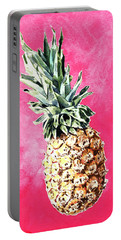 Pink Pineapple Bright Fruit Still Life Healthy Living Yoga Inspiration Tropical Island Kawaii Cute Portable Battery Charger