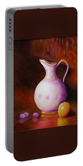 Portable Battery Charger featuring the painting Pink Pitcher by Gene Gregory