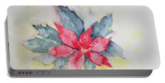 Pink Poinsetta On Blue Foliage Portable Battery Charger