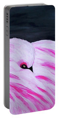 Portable Battery Charger featuring the painting Pink Primping Flamingo by Sonya Nancy Capling-Bacle