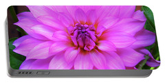 Pink Purple Dahlia Flower Portable Battery Charger