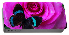 Pink Rose And Black Blue Butterfly Portable Battery Charger