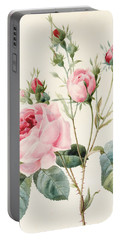 Pink Rose And Buds Portable Battery Charger