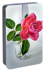 Pink Rose Portable Battery Charger by Irina Sztukowski