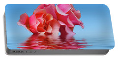 Pink Rose Sea Plale Blue Portable Battery Charger by David French