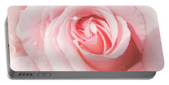 Pink Rose With Rain Drops Portable Battery Charger